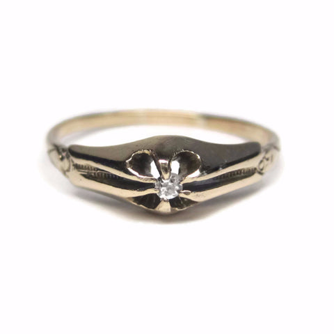 Dainty Antique Belcher Set 10K Diamond Promise Ring Size 7 3/4 - Bejeweled Emporium - 1
