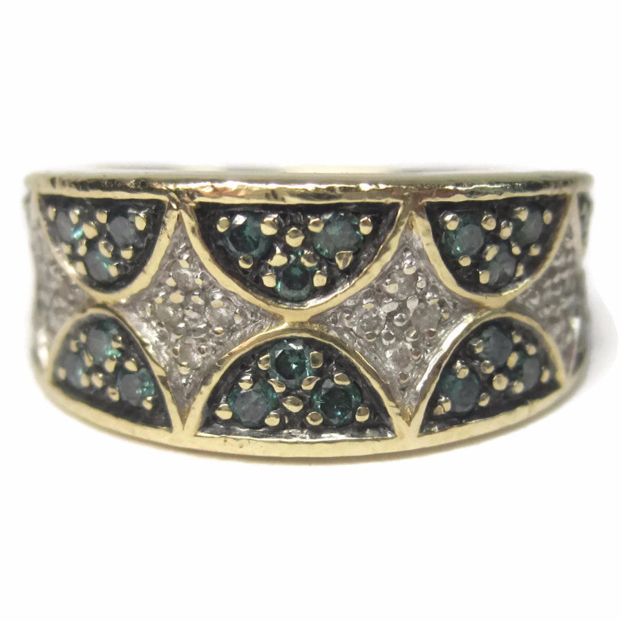 Wide Vintage 14K .42 Carat Blue and White Diamond Band Ring Size 6 - Bejeweled Emporium - 1