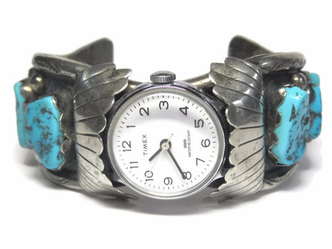 Vintage Sterling Navajo Turquoise Watch Cuff Bracelet M Thomas 7 Inches - Bejeweled Emporium - 1