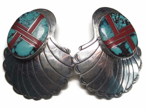 Large Vintage Navajo Inlay Earrings Sterling Turquoise Coral Inlaid