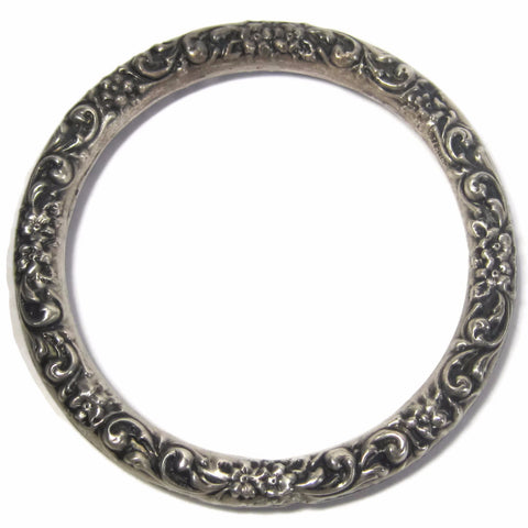 Antique Repousse Bangle Bracelet Ornate Sterling - Bejeweled Emporium - 1