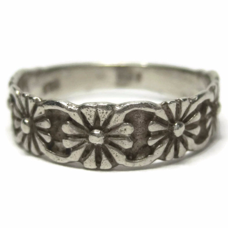 Vintage Sterling Floral Posy Band Ring Size 6.5 - Bejeweled Emporium - 1