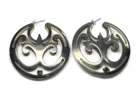 Huge Vintage Silvertone Statement Earrings