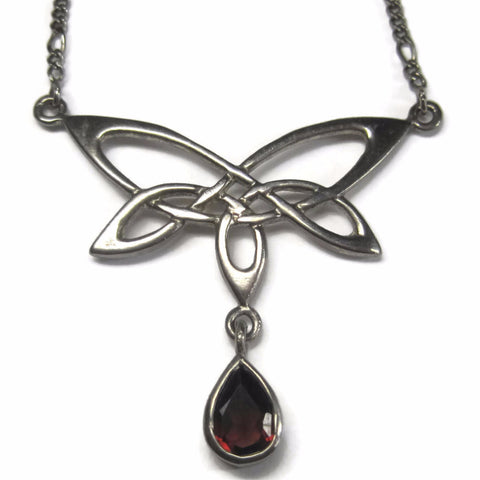 Vintage Sterling Celtic Butterfly Garnet Necklace 17 Inches