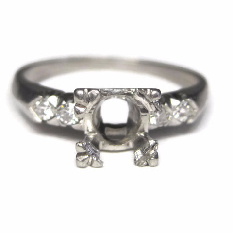 Vintage 50s Platinum Diamond Engagement Ring Semi Mount Size 6.5
