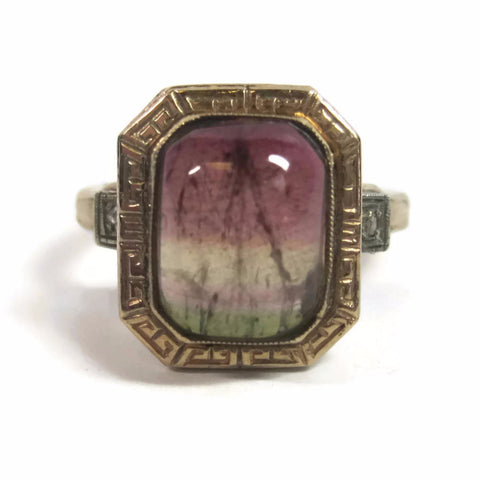 Antique 10K Tri-Colored Tourmaline and Diamond Ring Size 5.5