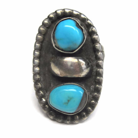 Vintage Sterling Native American Turquoise Ring Size 6