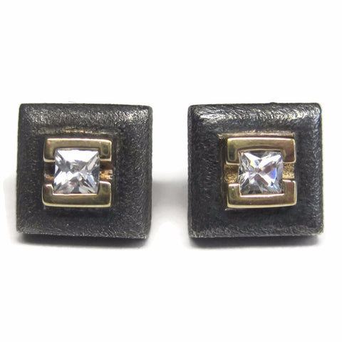 Square Vintage Sterling Cubic Zirconia Stud Earrings