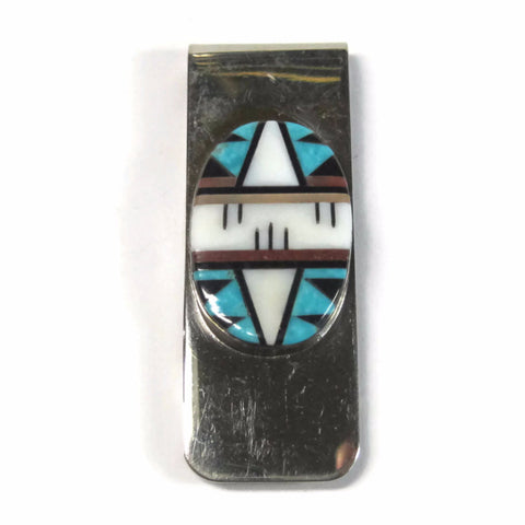 Vintage Zuni Inlaid Money Clip Sterling Fernandez Lementino