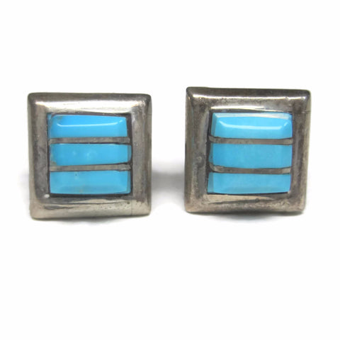 Vintage Sterling Zuni Raised Turquoise Inlay Stud Earrings