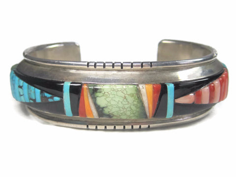 Stunning Vintage Navajo Inlay Cuff Bracelet  6.5 Inches