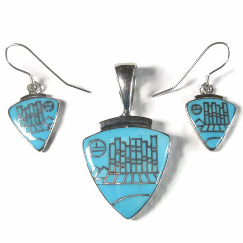 Vintage Zuni Turquoise Micro Inlay Jewelry Set Pendant and Earrings