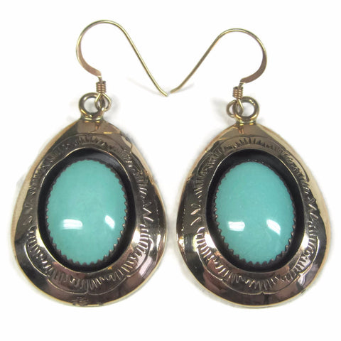 Vintage Navajo Gold Filled Turquoise Dangle Earrings Teddy Goodluck Jr