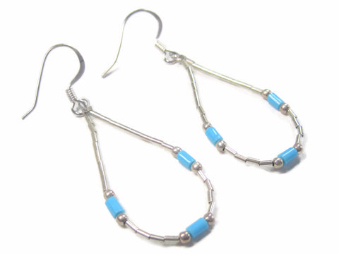 Vintage Sterling Liquid Silver Turquoise Earrings