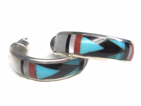 Vintage Native American Turquoise Inlay Hoop Earrings Boone