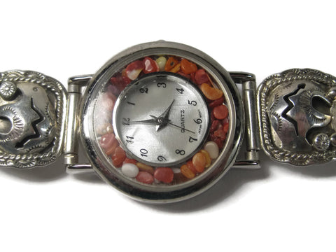 Womens Vintage Navajo Coral Watch 6 Inches