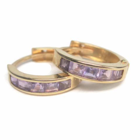 90s 14K Amethyst Huggie Hoop Earrings 9/16 Inches