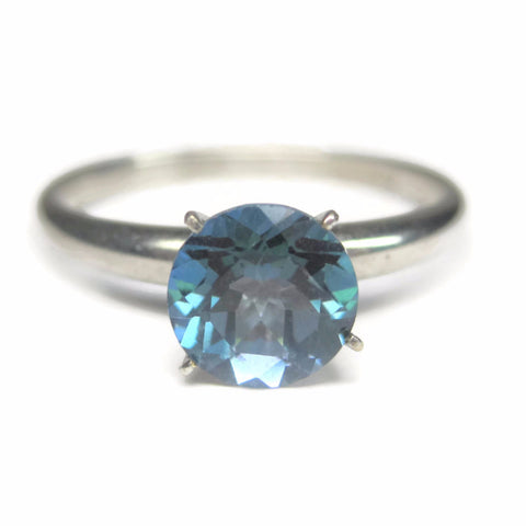 10K Sterling Blue Mystic Topaz Engagement Solitaire Ring Size 9
