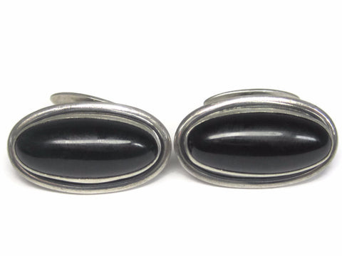 Large Vintage Sterling Onyx Cufflinks Cuff Links