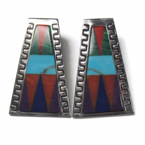 Vintage Sterling Southwestern Multi Stone Inlay Earrings Quoc Turquoise