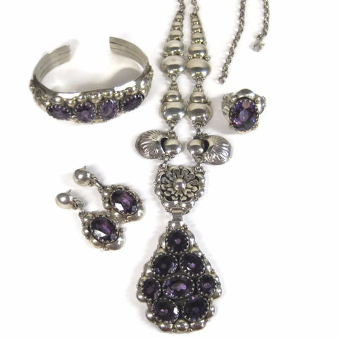 Vintage Navajo 95 Carat Amethyst Jewelry Set Necklace Bracelet Earrings Ring Clement Nalwood
