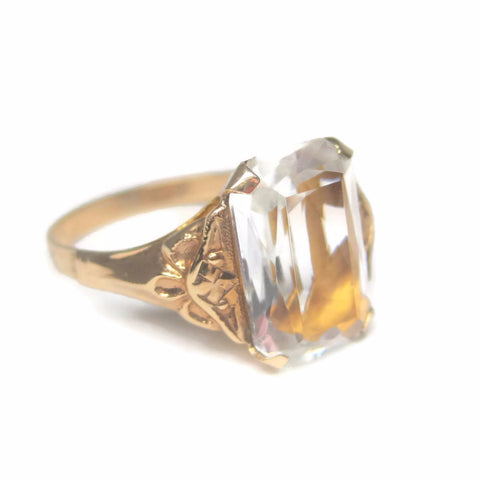 Antique 10K Crystal Ring Size 7 Ostby and Barton New Old Stock
