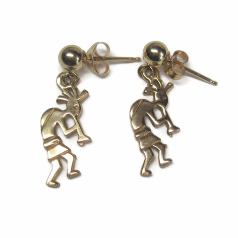 Dainty Vintage 14K Kokopelli Dangle Earrings