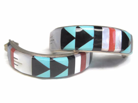 Large Vintage Zuni Turquoise Inlay Hoop Earrings Booqua