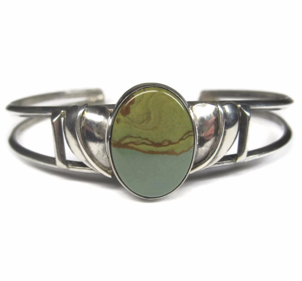 Vintage Sterling Green Jasper Cuff Bracelet 6.25 Inches