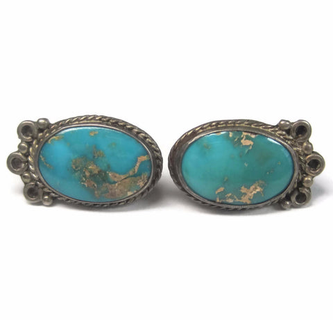 Vintage Sterling Turquoise Screw Back Earrings