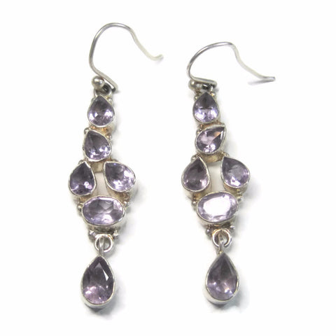 Vintage 90s Sterling Light Amethyst Dangle Earrings