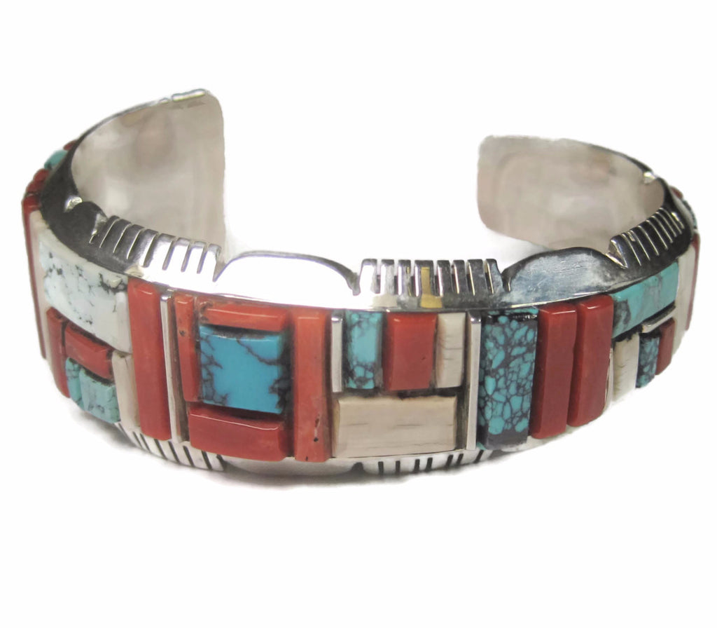 Vintage Sterling Navajo Cobblestone Inlay Cuff Bracelet 6.5 Inches Edward Becenti