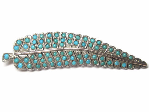 Antique Sterling Turquoise Leaf Brooch