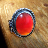 OOAK Carnelian Unicorn  Hidden Pentagram Moon Ring Size 8 - Bejeweled Emporium - 5