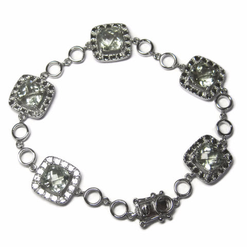 Estate 90s Sterling Green Amethyst Bracelet 7 Inches