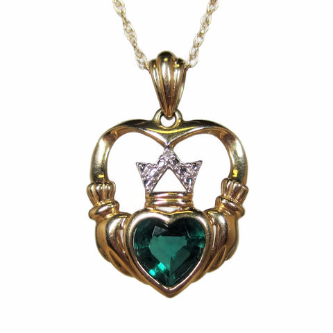 90s Vintage Emerald 14K Claddagh Heart Pendant Necklace
