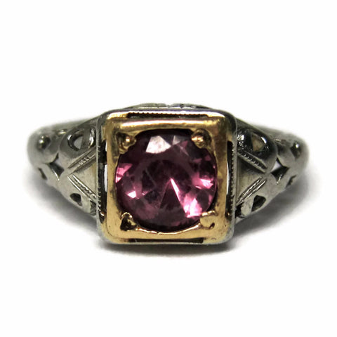 Antique 14K Two Tone Purple Glass Pinky Ring Size 3