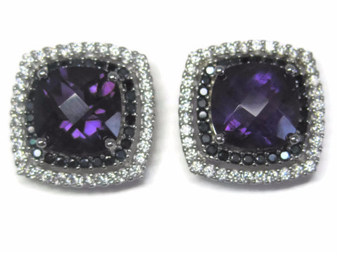 Large Vintage 90s Sterling Amethyst Black Sapphire Earrings