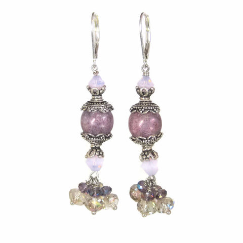 Handmade Sterling Purple Bead Dangle Earrings