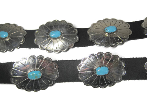 Vintage Sterling Turquoise Black Leather Concho Belt 47 Inches