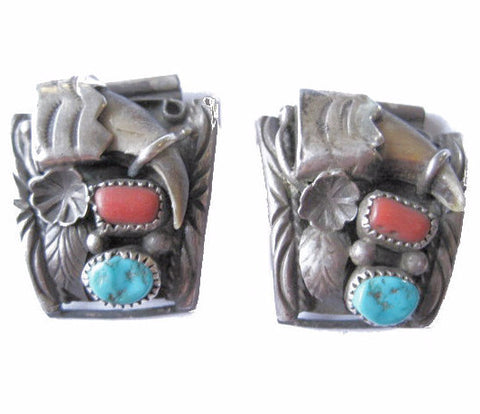 Navajo Turquoise and Coral Bear Claw Watch Bands by Ervin Tsosie - Bejeweled Emporium - 1