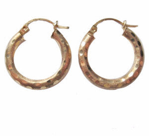 10K Yellow Gold 3/4 Inch Textured Lever Hoop Earrings - Bejeweled Emporium - 1