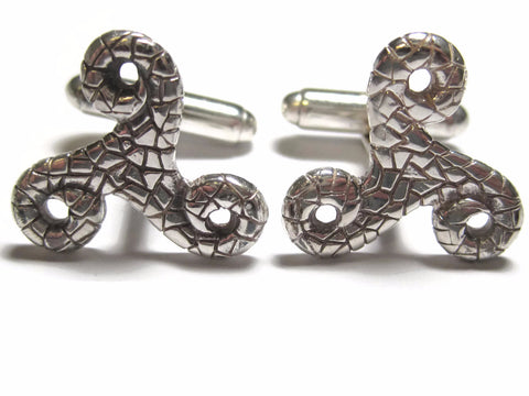 Vintage Sterling Textured Triskele Celtic Cufflinks Cuff Links