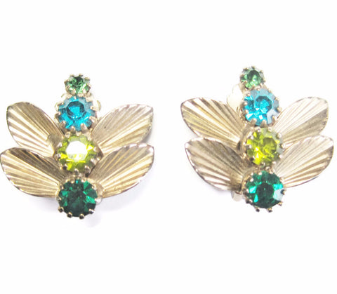 Green and Blue Rhinestone Dragonfly Clip On Earrings - Bejeweled Emporium - 1