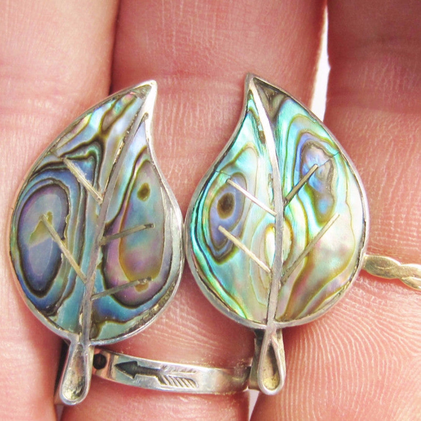 Mexican Sterling Abalone Leaf Screw Back Earrings - Bejeweled Emporium - 1