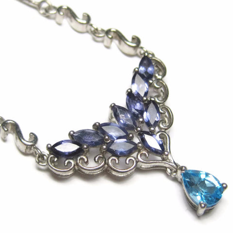 Formal Sterling Iolite and Blue Topaz Necklace - Bejeweled Emporium - 1