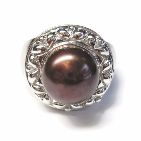 Chunky Vintage Brown Pearl Ring 925 Sterling Size 7 - Bejeweled Emporium - 1