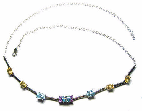 Citrine Amethyst Aquamarine Necklace 925 Sterling Silver 20 Inches - Bejeweled Emporium - 1