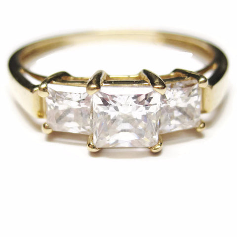 14K 3 Stone Princess Cut 1.5 Carat CZ Ring Sz 9.5 - Bejeweled Emporium - 1