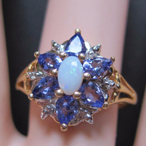 10K Yellow Gold Amethyst Opal Ring Size 7 - Bejeweled Emporium - 1